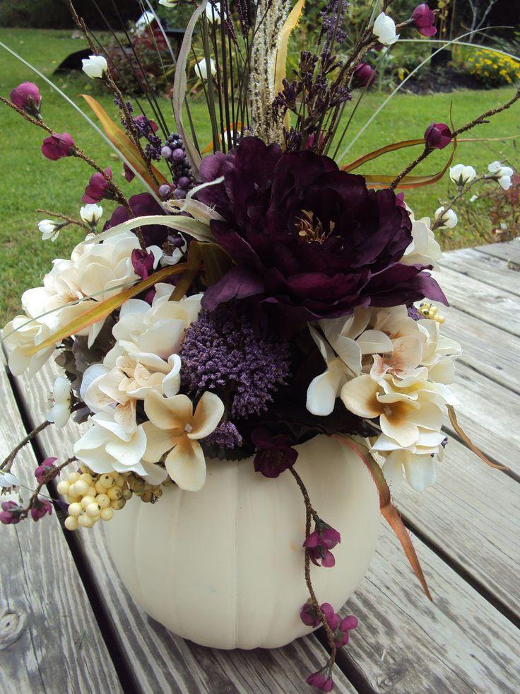 Large Elegant Purple Floral White Pumpkin Table Centerpiece Wedding Halloween Fall Tuscan. $50.00, via Etsy.