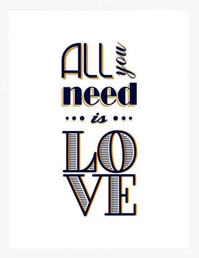 ALL YOU NEED IS LOVE IV » Tipografia - Urban Arts - 36 x 47,5 - Papel Matte - Moldura Lisa Branca - R$ 228