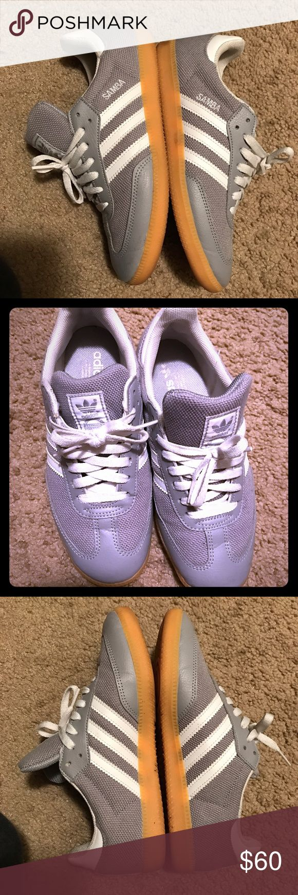 Adidas samba gray unisex classic style Very cute classic shoe. Worn but not damaged still in great condition. Fits me and I'm normally an 8 in women's these are size 7 in men according to the shoe. Adidas Shoes Sneakers