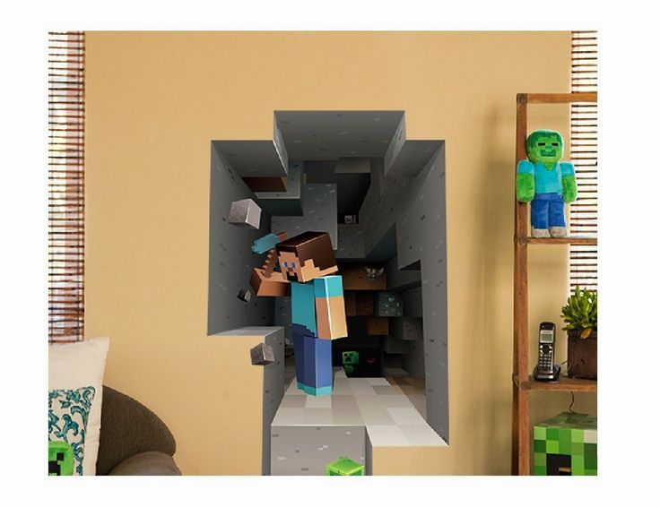 Minecraft Steve Mining Wall Decal/Cling - Store Online for Your Live and Style
