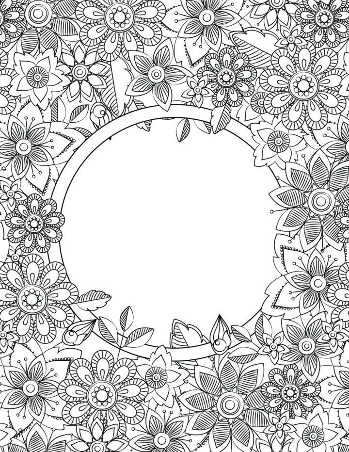 Binder Cover Adult Coloring Pages Flower Coloring Pages