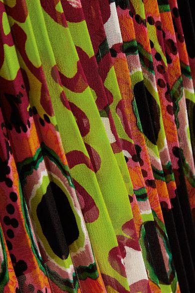 Roberto Cavalli - Pleated Printed Silk-georgette Midi Skirt - Orange - IT44