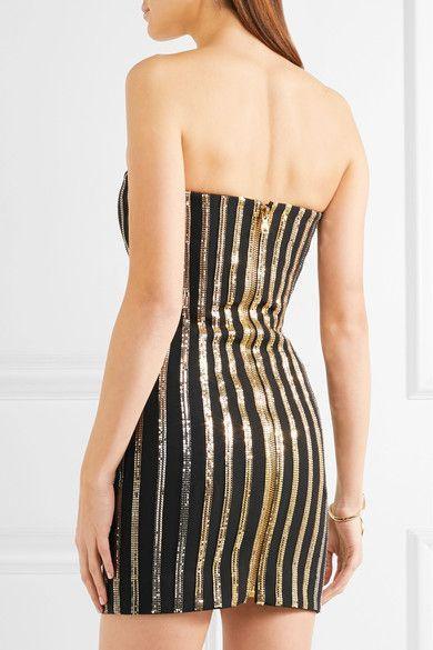 Balmain - Metal Mesh-paneled Crepe Mini Dress - Gold - FR38
