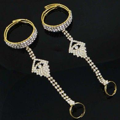 Bridal Jewelry Cz Stone Detachable Ring Bracelet Goldtone Belly Dance Jewellery