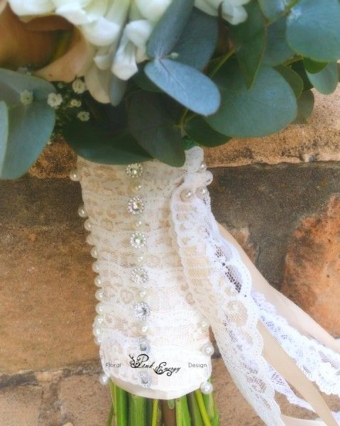 Vintage style bridal bouquet - ribbon, lace and pin detail. Floral Design  by www.pinkenergyfloraldesign.co.za