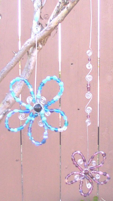 Glass Bead flower suncatcher hung on tree