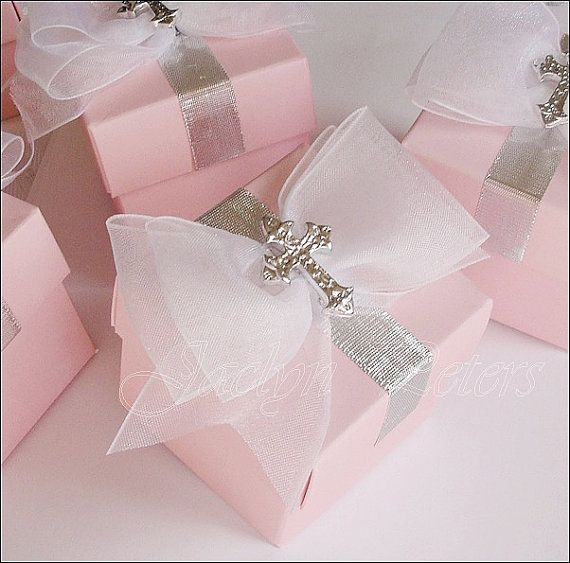 Girl's #PinkBaptism, #Communion Silver Cross And Bow #FavorBox, Candy Holder, Rosary Bead Box, Set Of 24 by JaclynPetersDesigns
