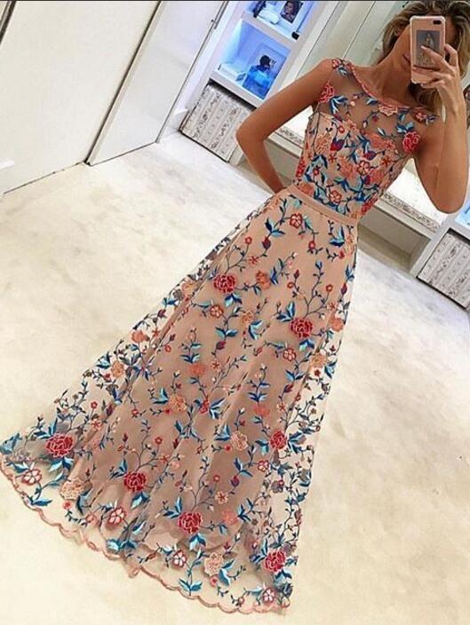 2017 prom dress, long prom dress, embroidery prom dress, formal evening dress