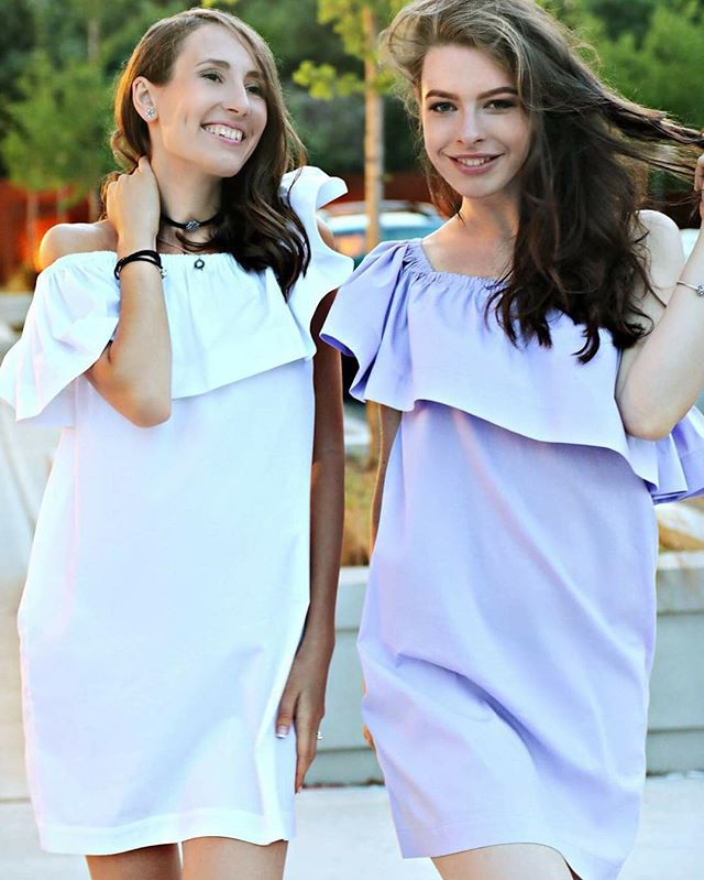 White and lilac #flouncetopdress