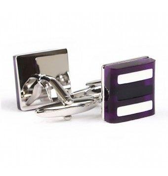 Sterling Silver Purple Stone Square Shape Cufflinks