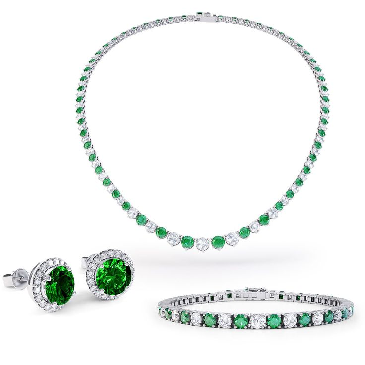 Eternity Emerald and White Sapphire Platinum plated Silver Jewellery Set with Necklace