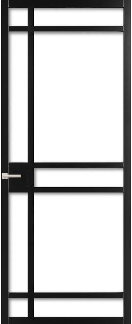 WK6334 C - Industriële binnendeur met een strak, modern, stoer en tijdloos design. Kenmerkend voor deze deur is de verfijnde uitstraling en de slanke profilering. Passend in een modern en strak interieur. De deur zorgt voor veel lichtinval en een ruimtelijk karakter. Ook toepasbaar als dubbele deuren of schuifdeur(en).