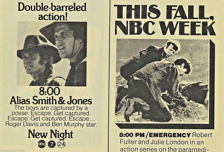 1972 Alias Smith and Jones~ABC TV Ad NBC tv Emergency New Season Promo Advert