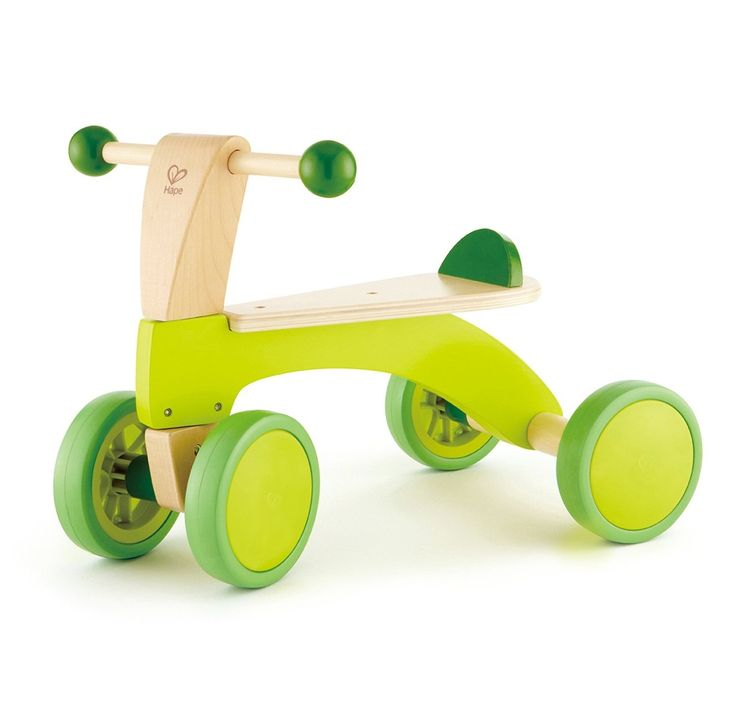 Bicicleta de madera sin pedales para bebé de color verde lima de Hape
