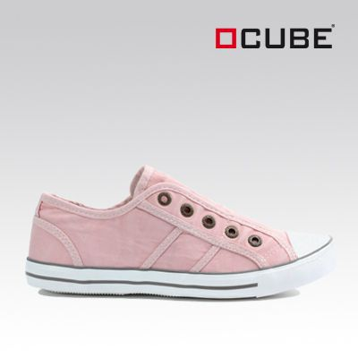 Cube Sneaker aus rosarotem Canvas - zum Produkt: http://ch-de.voegele-shoes.com/058201096