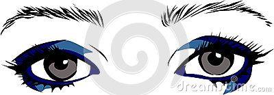 Vector Drawing blue eyes makeup.