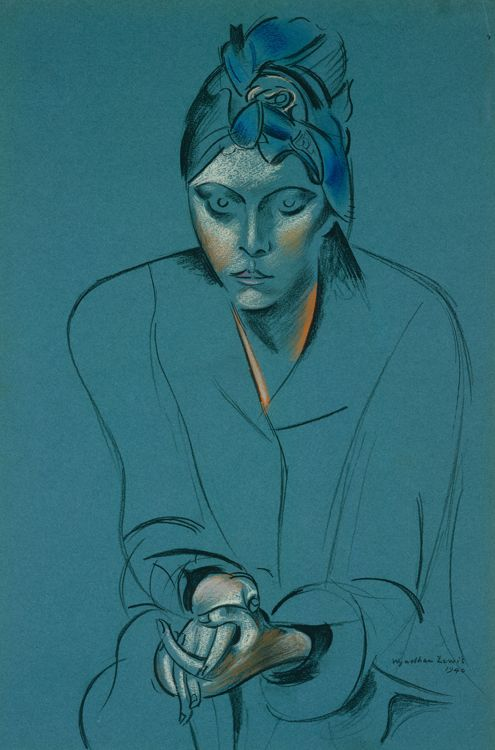 The Artist's Wife, Froanna by Wyndham Lewis 1940 (pencil & coloured chalks on blue paper) - The Art Fund - national fundraising charity for works of art