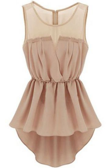 Apricot Sleeveless Back Zipper Bandeau High Low Top