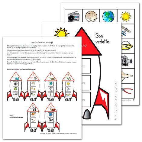 Fichier PDF téléchargeable En couleurs seulement 5 pages (dont une page d'instructions) Vous placez un son en vedette dans le chapeau de la fusée et les élèves doivent trouver 3 objets qui commencent par le même son. Des instructions plus détaillées sont données en première page du document avec un corrigé.