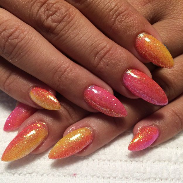 Los Angeles Sunset Glitter Ombre Nails by Kat Shahan | Nail Pro Magazine June 2016 Readers Nail Art Submissions, check it out at http://www.nailpro.com/nail-pro-62016-nail-art