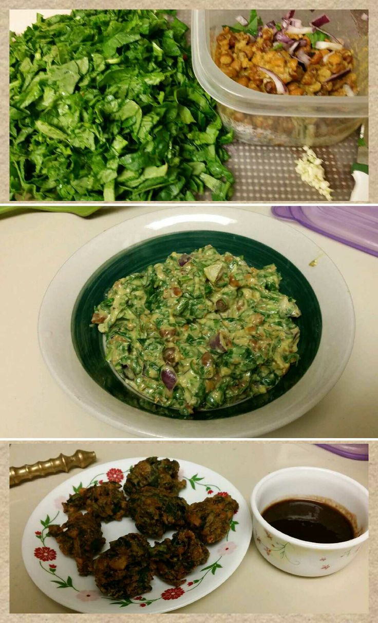 Easy quick healthy and right use of leftovers...enjoy Spinach, Gram pakoras or snacks