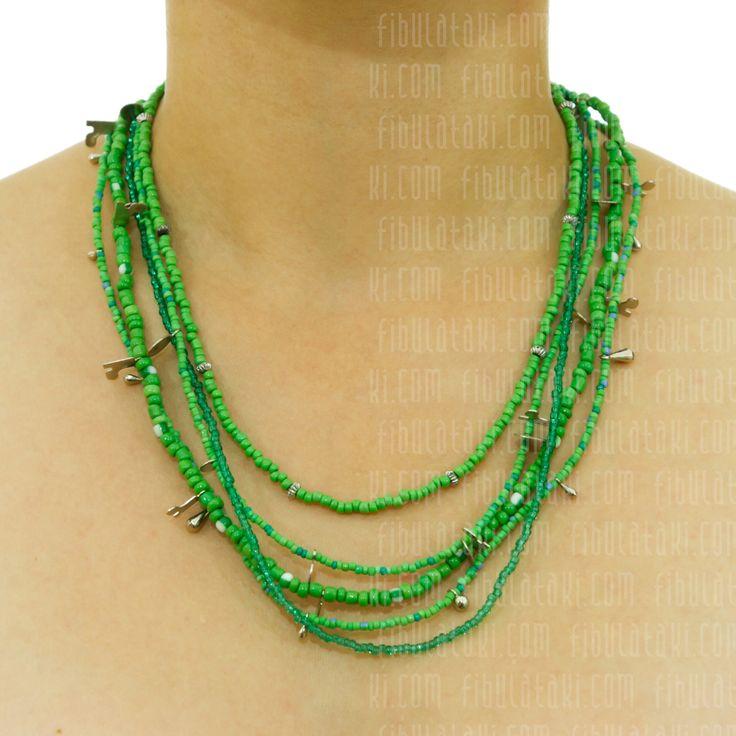 Fibula Takı - Salkım Saçak Serisi / Kolye - boncuk - metal -  yeşil