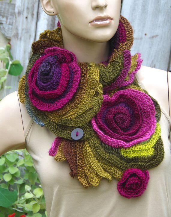 Crochet Scarf Freeform crochet Roses Button Womens scarf door Degra2