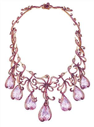 Chopard Red Carpet Collection necklace with pink sapphires, rubies, diamonds and pear-shaped kunzites