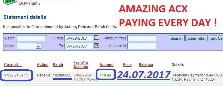 $$$  TOP STABLE SISTEM FOR ONLINE EARNINGS  $$$ My NEW ADCLICKXPRESS TRIPLER WITHDRAWAL PROOF of the NEW AdClickXpress Tripler sistem.  START HERE: http://www.adclickxpress.is/?r=goki_mkd  Date: 24.07.2017 (17:22h) To Pay Processor Account: U5301307 Amount: 19.44 Currency: USD Batch: 182886900 Memo: API Payment. Ad Click Xpress Withdraw 2679985-10204  THE BEST ONLINE BUSINESS IN THE WORLD...(ACX-Tripler) Join now: http://www.adclickxpress.is/?r=goki_mkd