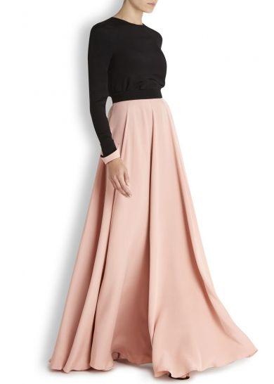 ROKSANDA rose silk maxi skirt Black waistband, pleated waist, draped Zip fastening at back 100% silk.  Harvey Nichols