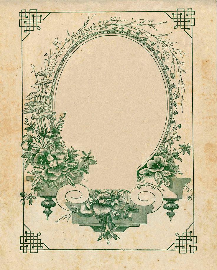 Vintage Floral Frame in Green ~ LÁMINAS ANTIGUAS 3-Ideas y Trabajos terminados (pág. 799) | Aprender manualidades es facilisimo.com