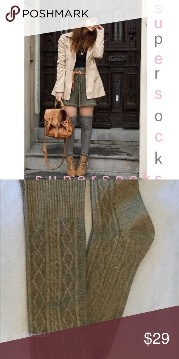 """29"""" Long Knit Thigh High Over The Knee Socks Boot Soft 29"""" long knit thigh high socks. The socks are so soft and cozy, where them thigh high, yes true thigh high dimensions. 21.5"""" from heel to top 7.5"""" ankle to toe. 47% acrylic, 45% cotton. Choose from oatmeal or gray. Either way you won't be disappointed in these lovely earthtone colors. boutique Accessories Hosiery & Socks"""