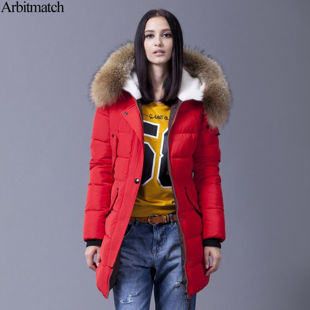 Good Deal $125.31, Buy Arbitmatch Down Jacket Winter Jacket Women Natural Large Racoon Fur Collar Hooded Warm Thick Outwear Female 90% Duck Down Coat