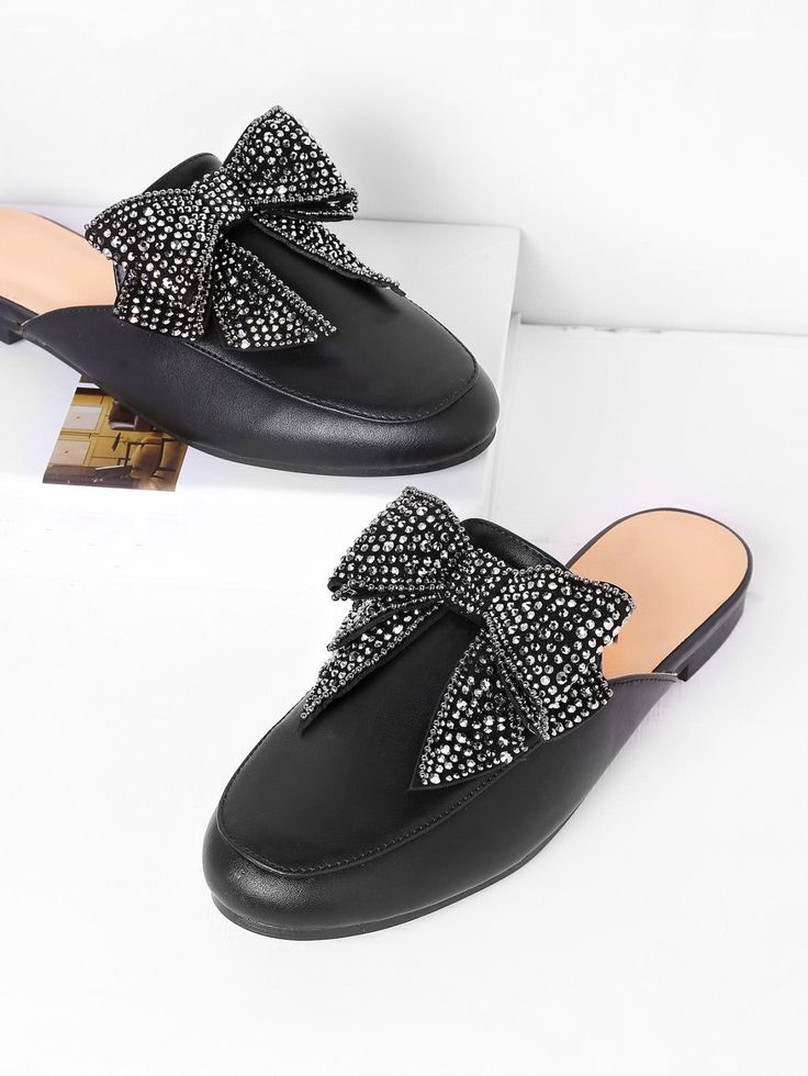 SheIn offers Bow Tie PU Loafer Slippers & more to fit your fashionable  needs.