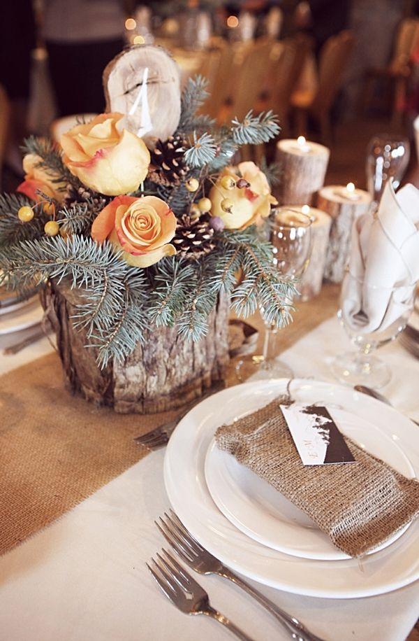 wood and burlap centerpieces. My cousins gorgeous wedding!