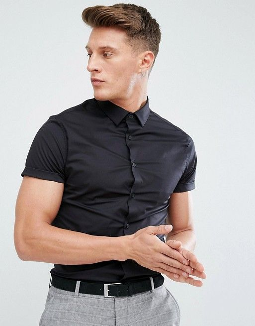 562c9fa9f DESIGN skinny shirt in black with short sleeves