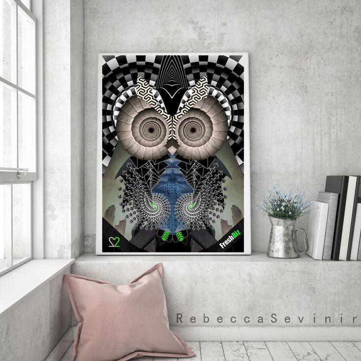 owl no 22. Portrait of :Ronen Gafni.founder & game creator @FreshBiz Game.   #art #digital_illustration #digital_painting #surrealism #contemporary_art #creativity #design #owl #art-collector #color #pattern #imagination #vision #portrait #owl #rebeccasevinir