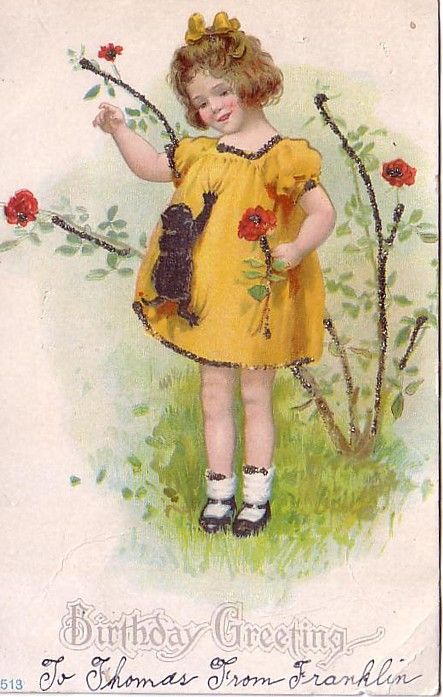 Image detail for -Vintage Birthday Greeting Little Girl with Kitty Climbing Dress