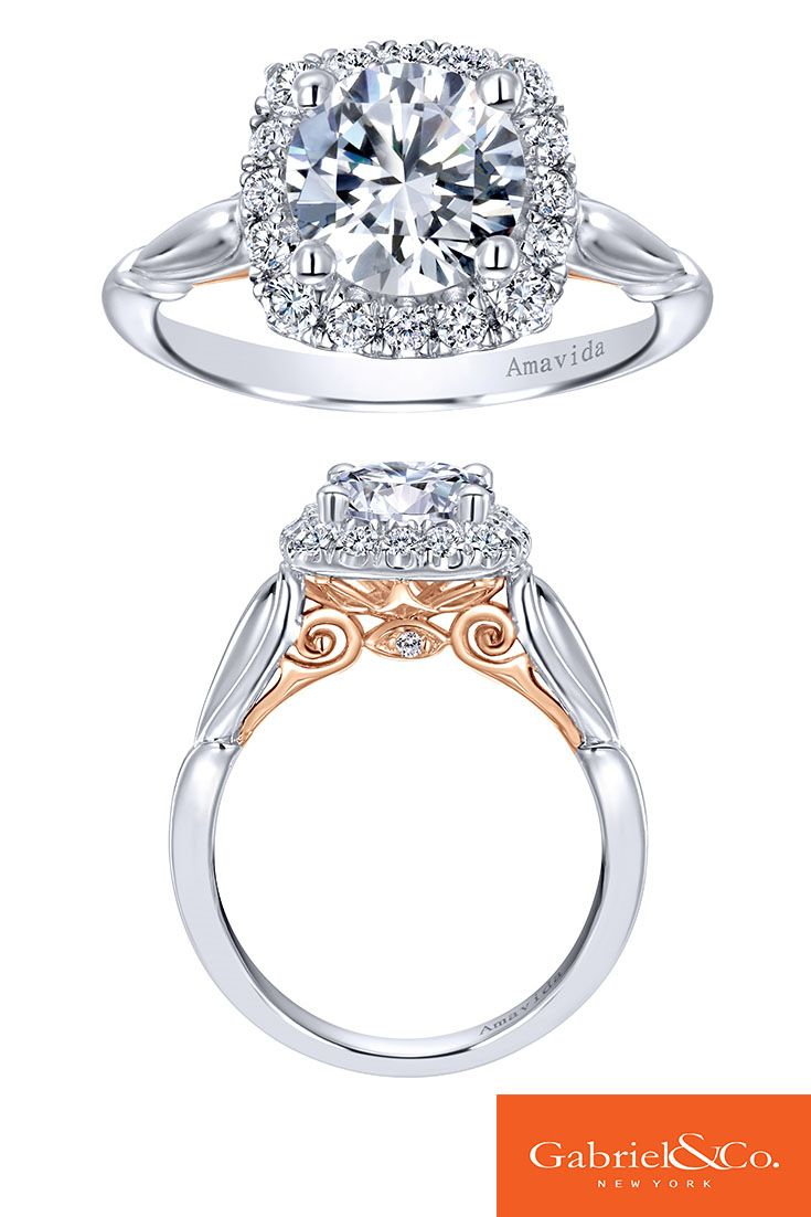 A subtle touch of rose gold in this stunning Amavida 18k White and Rose Gold Diamond Halo Engagement Ring. The Rose Gold metal underneath the center stone adds such amazing color that makes the White Gold and diamonds stand out! Make sure to find your perfect pieces with Gabriel & Co.!
