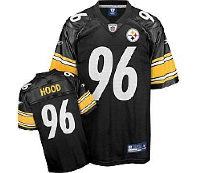 Reebok Pittsburgh Steelers Ziggy Hood 96 Black Authentic Jerseys Sale