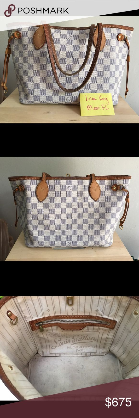 Louis Vuitton Neverfull Damier Azur -PM Gorgeous, 100% authentic Neverfull PM in DA. Flaws shown (stains on interior, darkening of leather with two small rub throughs on trim). Most of leather is a beautiful honey patina and canvas is in fabulous condition. Fabulous bag with lots of life left! Louis Vuitton Bags Shoulder Bags
