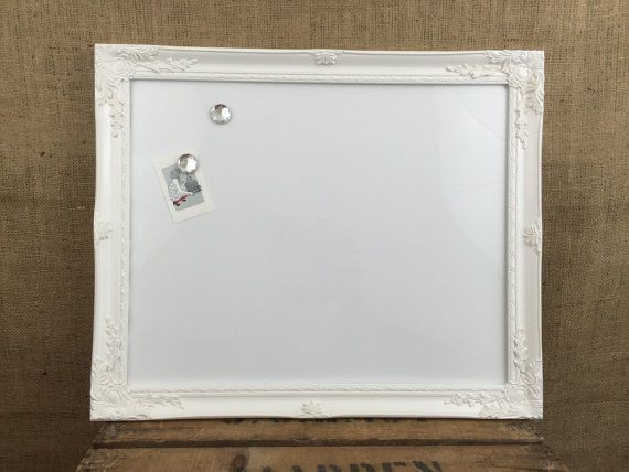 Need a bulletin board, Dry Erase Board or Whiteboard? Whatever you want to call it then this is the perfect memo board for you! Add a little glitz with this ornate picture frame MAGNETIC WHITEBOARD. In a choice of White or Metallic Silver frames.  Great for a CRAFT room wall, pretty in the KITCHEN or home OFFICE. Would also be suitable for restaurants, cafes, bistros, or as a retail SHOP sign. Why not write up your special offers or dish of the day!  These lovely magnetic whiteboards are…