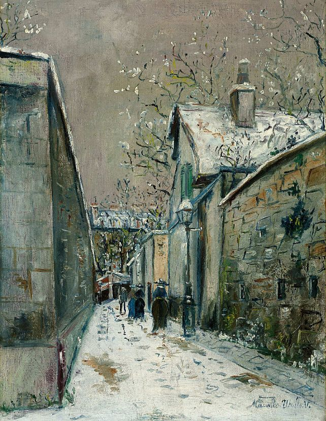 Maurice Utrillo - La maison de chaume vous la neige, rue Saint-Vincent Montmatre, c.1923