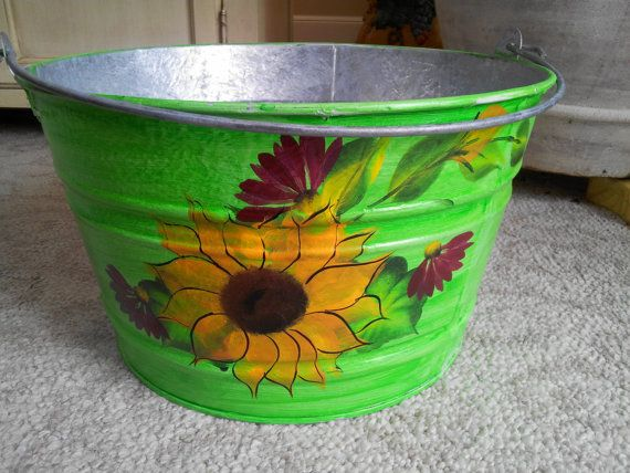 4.5 Gallon Hand Painted Galvanized Tub by krystasinthepointe, $42.00