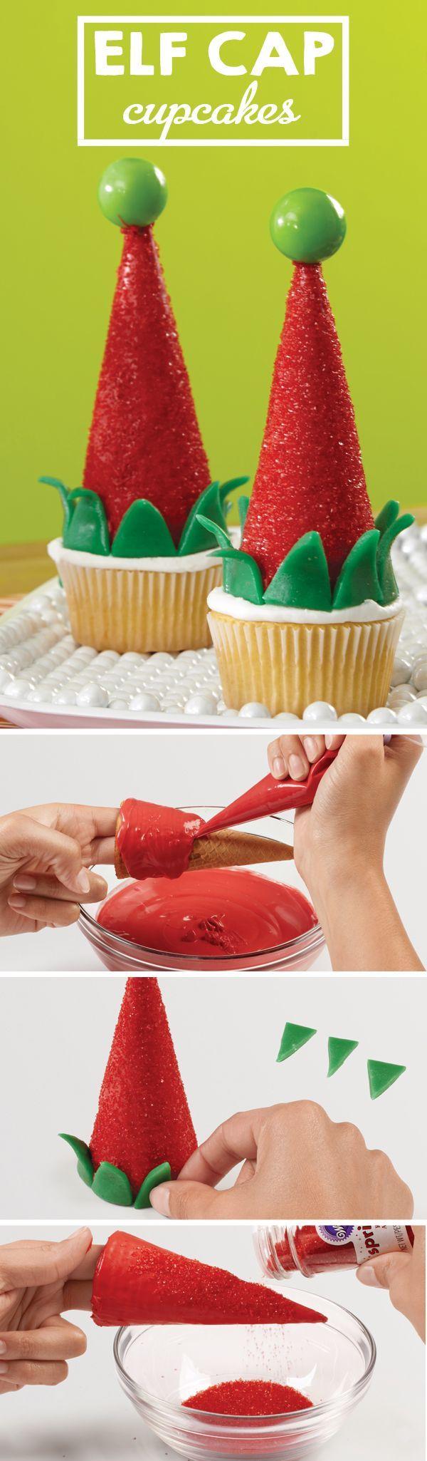 Haz estos lindos Cupcakes de Elf Cap con / partycity /   – Christmas Cupcakes & Cake