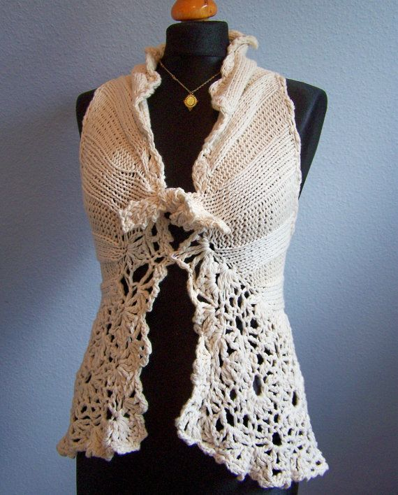 knitted vest cashmere cotton by Wollarium on Etsy, $145.00