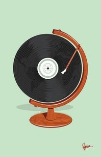 """A new Threadless t-shirt design by Ryder Doty. Music makes the world go 'round. or better known as """"World Record"""" #vintage #illustration"""