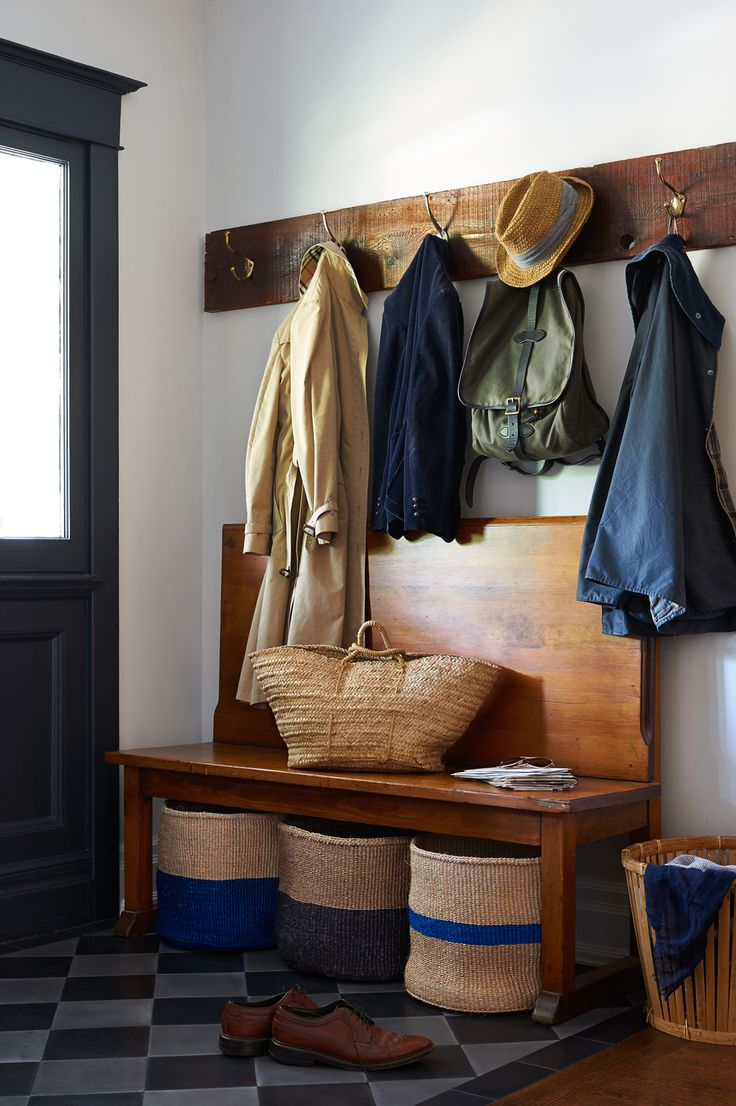 entry with coat hooks + bench   interior design + decorating ideas