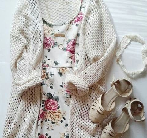 Dress and Cardigan - School Appropriate Outfit #favorite_pin