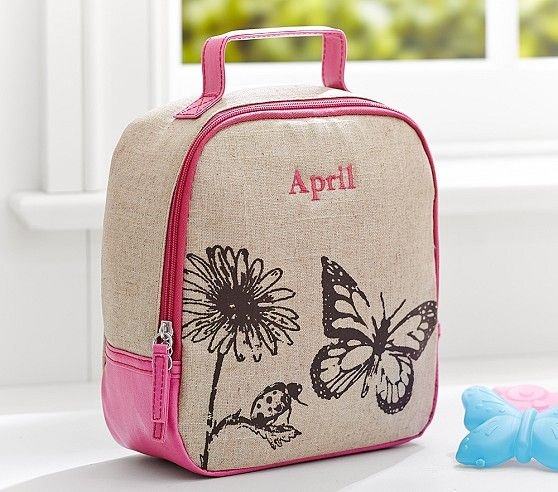 Riley Pink Butterfly Lunch Bag Pottery Barn Kids With